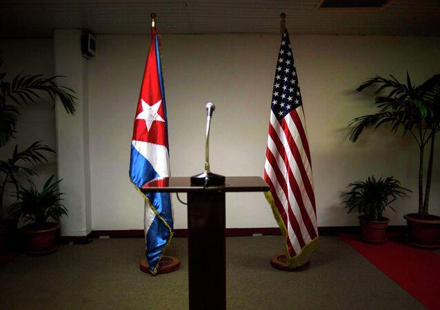 Drapeaux cuban et américain