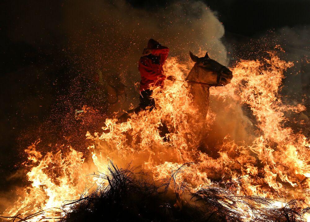 Le festival Las Luminarias se tient dans le village espagnol de San Bartolomé de Pinares à la veille de la Saint-Antoine. Des centaines de cavaliers participent à ce festival