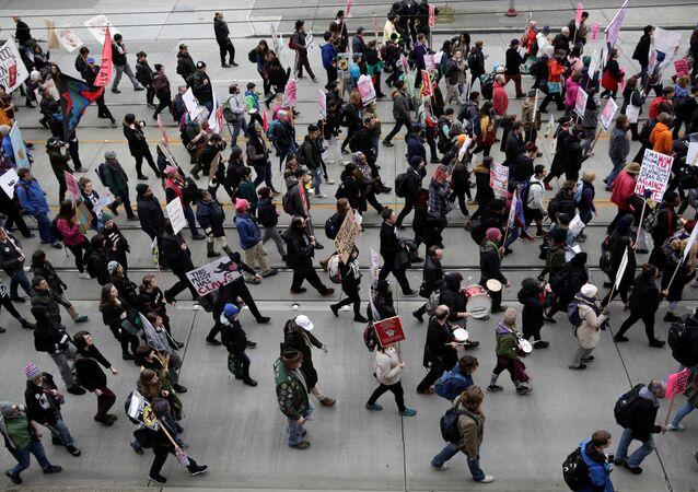 Les protestations anti-Trump à Seattle, Washington, Etats-Unis, le 20 janvier 2017