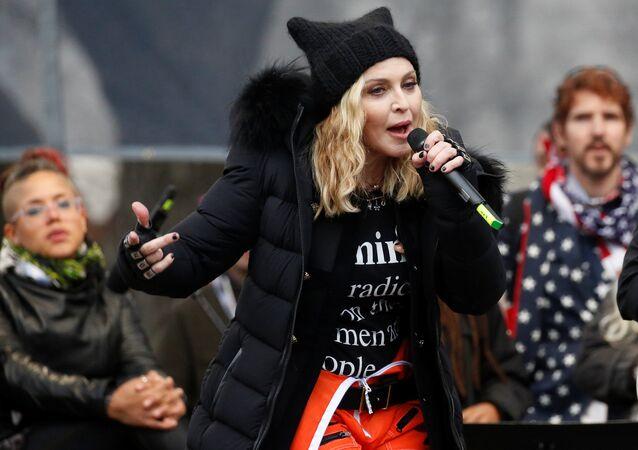 La cantante Madonna durante la Marcha de las Mujeres en Washington