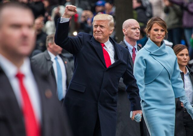 President Donald Trump and his wife Melania during the inauguration in Washington.