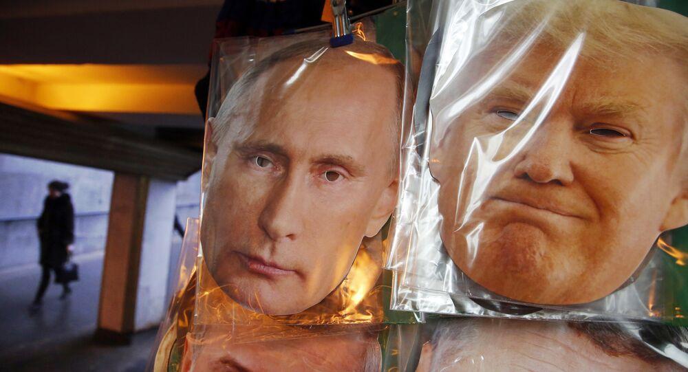 Portraits de Vladimir Poutine et de Donald Trump