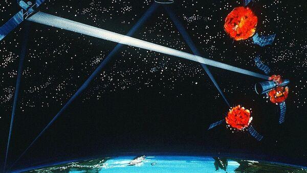 An artist's concept of a ground / space-based hybrid laser weapon, 1984 - Sputnik France