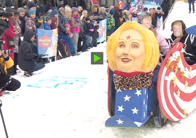 Un traîneau à la Hillary sur les monts Vorobiev de Moscou