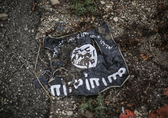 Drapeau de Daech, organisation terroriste interdite en Russie