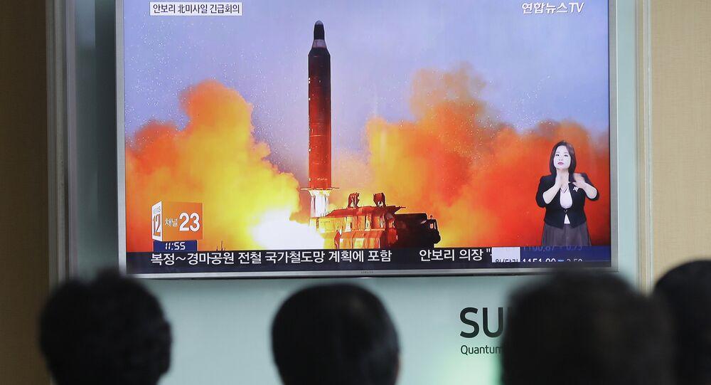 Lancement d'une fusée balistique de la Corée du Nord. Archive photo