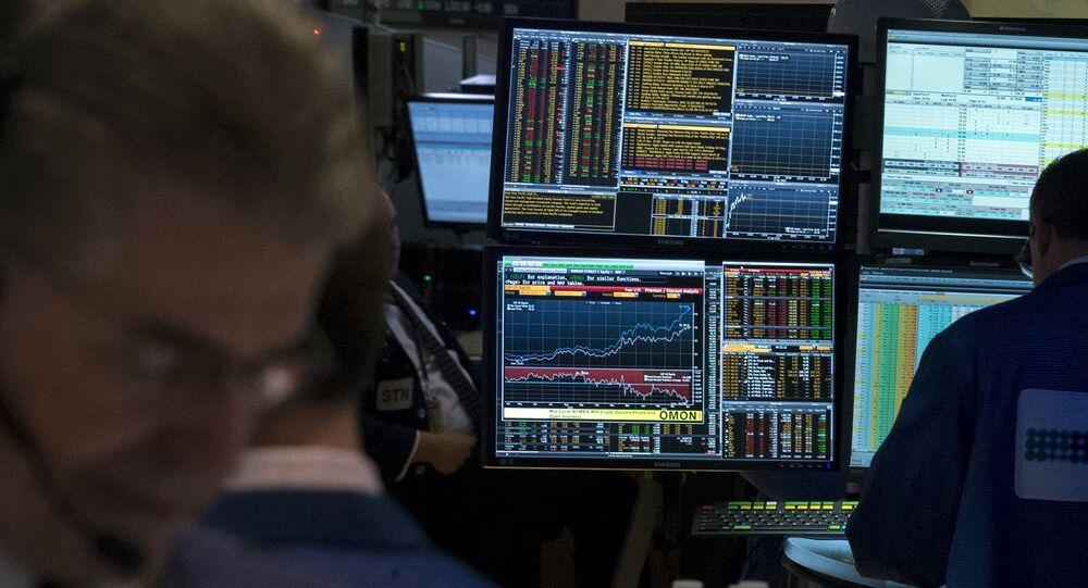 Un terminal Bloomberg à la bourse de New York