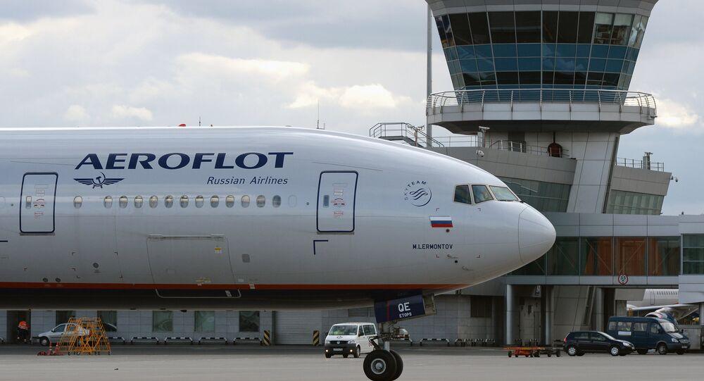 Un avion d'Aeroflot à l'aéroport Cheremetievo de Moscou