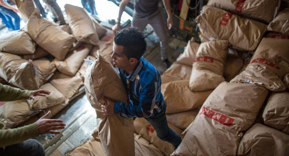 Aide humanitaire russe distribuée aux Syriens