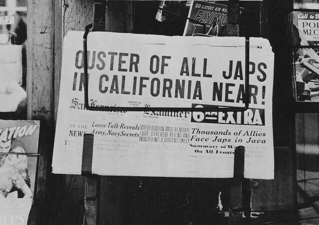 À la une du journal californien San Francisco Examiner (février 1942).