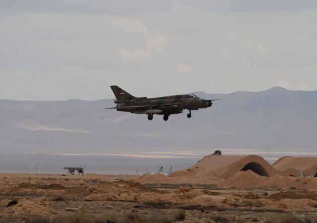 Un avion de l'armée syrienne non loin de Palmyre