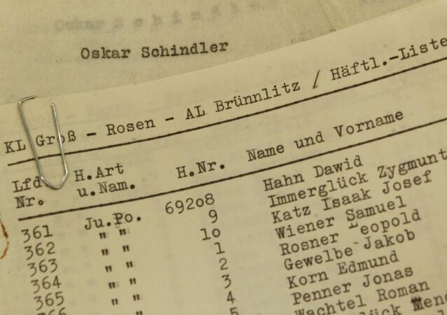 The Stuttgarter Zeitung exhibits on Friday, October 15, 1999, in Stuttgart, Germany, what they claim are the documents of Oskar Schindler. The photo shows the alleged original list of 1,200 Jewish concentration camp prisoners whom he employed in his factory The newspaper claims a German couple found the list among a suitcase full of Schindler's papers that deal primarily with his life after World War II, which they donated to the newspaper.