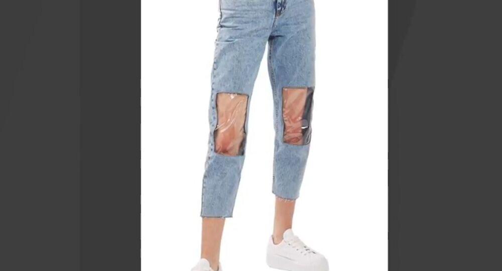 clear knee mom jean