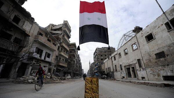 A Syrian national flag hangs in a damaged neighbourhood in Aleppo, Syria - Sputnik France