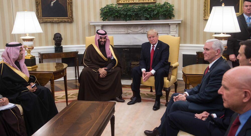 Rencontre du Président américain Donald Trump avec le vice-prince héritier du trône saoudien Mohammed ben Salmane