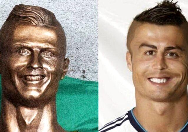 La statue de Ronaldo et un photomontage