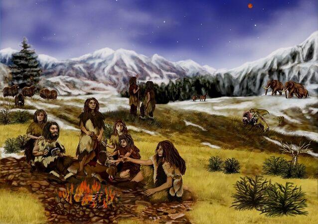 Hommes de Néandertal. Image d'illustration