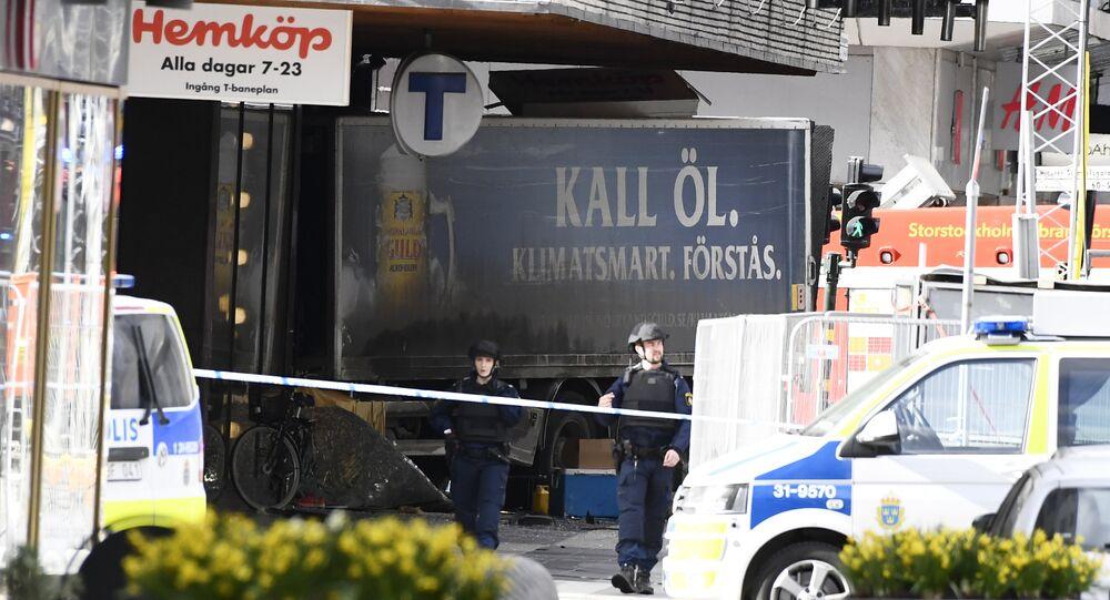 Le lieu de l'attentat àStockholm