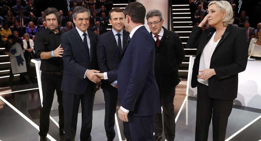 Candidats de gauche et de droite pour l'élection présidentielle de 2017, dont Francois Fillon (LR), Emmanuel Macron (LaREM, ex-En marche!), Jean-Luc Melenchon (La France Insoumise), Marine Le Pen (Rassemblement national, ex-Front National) et Benoit Hamon (Parti socialiste)