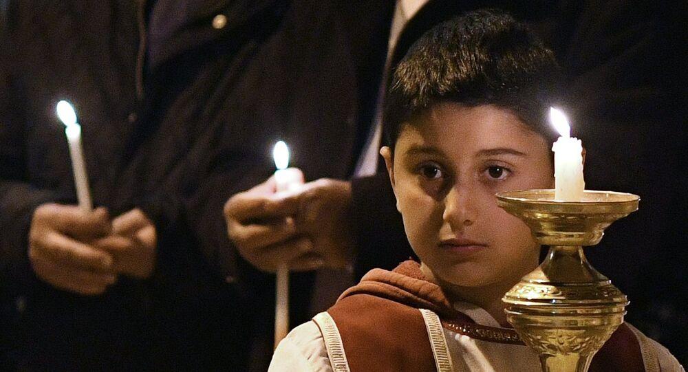 Пасхальная служба в монастыре в сирийском городе Сайедная