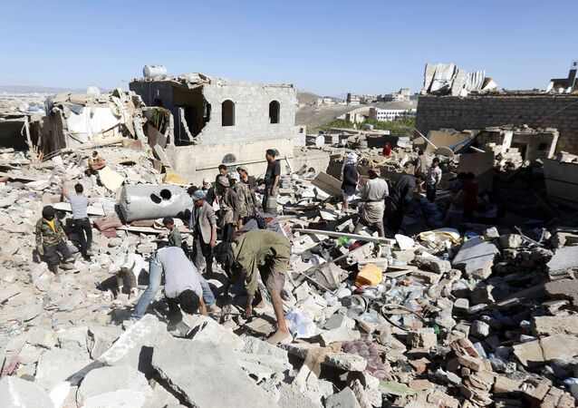 Maisons détruites au Yémen par les frappes de la coalition arabe