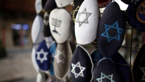 Jewish Kippas (skullcaps) are seen on display at a store in downtown west Jerusalem, on January 15, 2016. - Sputnik France