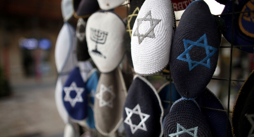 Jewish Kippas (skullcaps) are seen on display at a store in downtown west Jerusalem, on January 15, 2016.