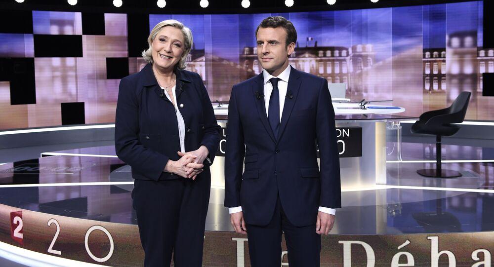 Emmanuel Macron et Marine Le Pen lors du débat télévisé de l'entre-deux-tours, le 3 mai 2017