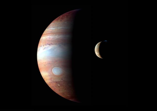 This montage of New Horizons images shows Jupiter and its volcanic moon Io.