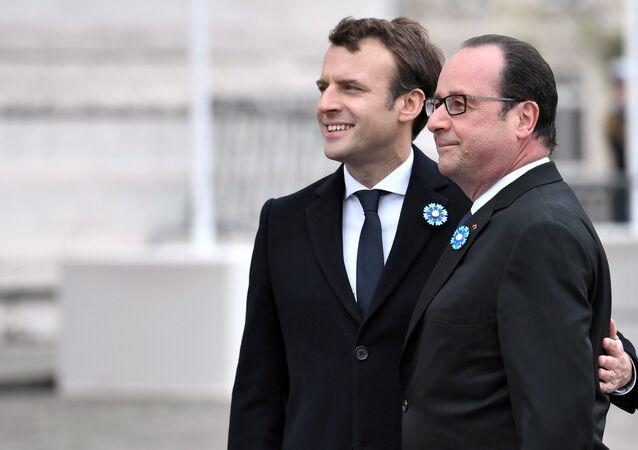 Frankreichs Präsident François Hollande und sein Nachfolger Emmanuel Macron