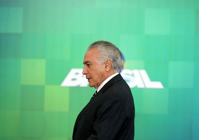 Michel Temer durante uma cerimônia dedicada ao Bolsa Família em 29 de junho de 2016
