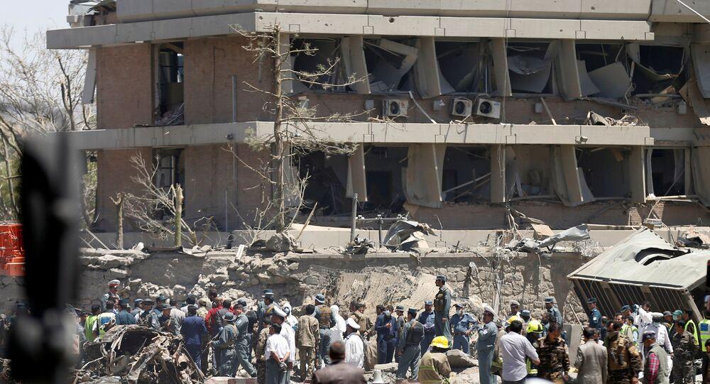 Le lieu de l'attentat à Kaboul