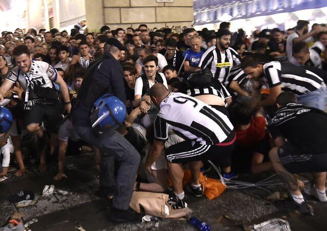 Mouvement de foule à Turin