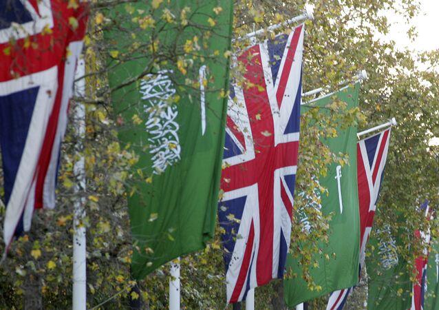 Flags of the United Kingdom and the flag of The Kingdom of Saudi Arabia
