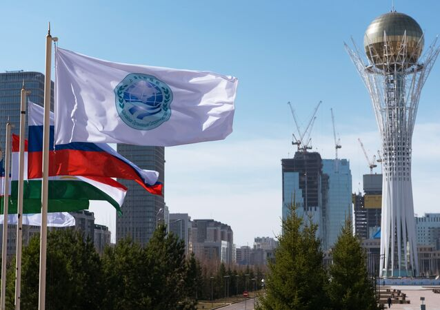 The flag of the Shanghai Cooperation Organization and flags of the SCO member states in Astana