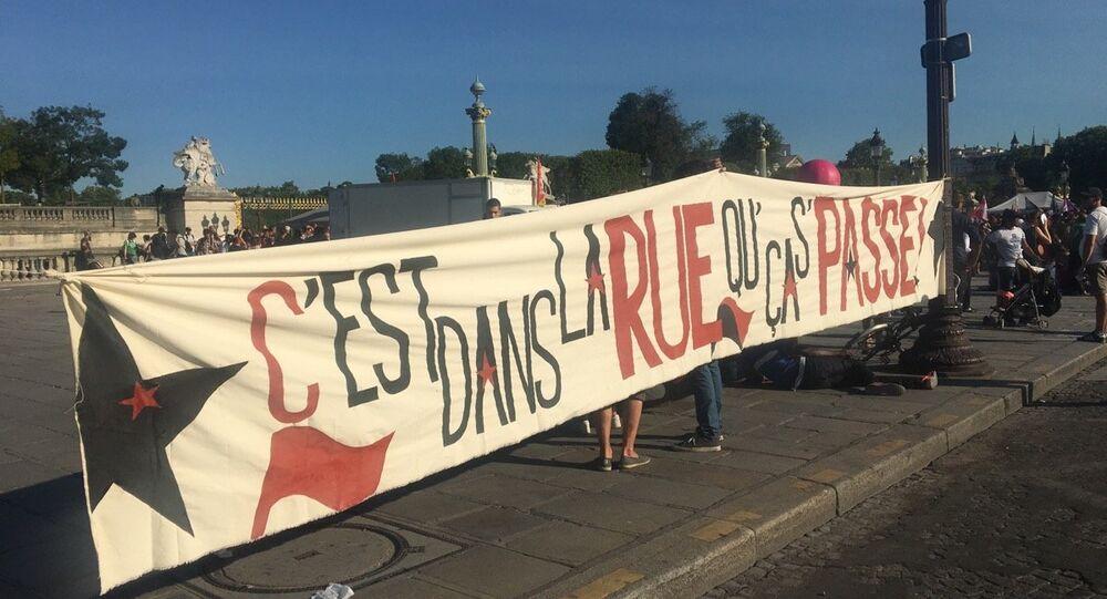 Manifestations contre la politique de travail d'Emmanuel Macron à Paris