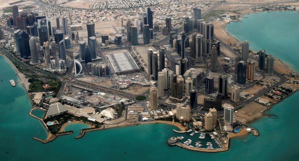 Vue aérienne de la zone diplomatique de Doha le 21 mars 2013.