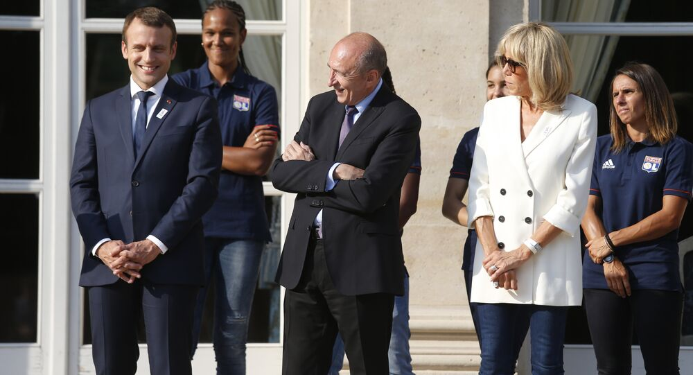 Emmanuel Macron, Brigitte Macron et Gérard Collomb