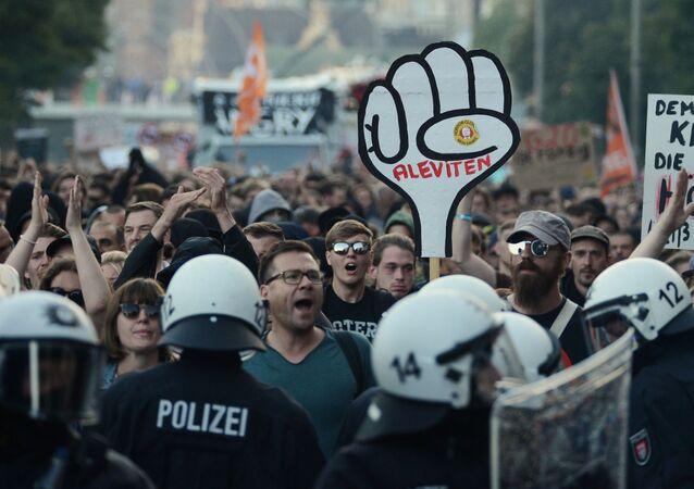 Les manifestations à Hambourg