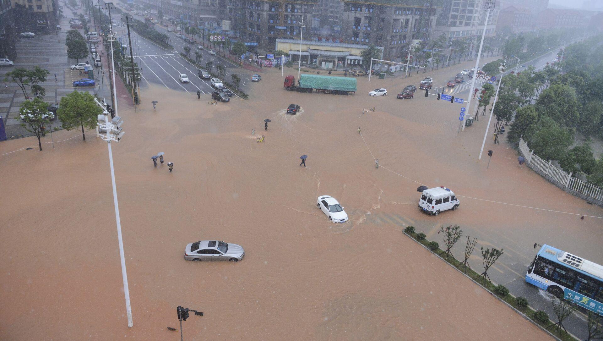 Inondation dans la province du Hunan, dans le sud-est de la Chine - Sputnik France, 1920, 09.08.2021