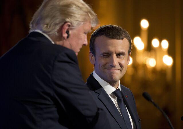 Emmanuel Macron et Donald Trump à l'Élysée le 13 juillet 2017