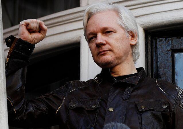 Le fondateur de WikiLeaks Julian Assange au balcon de l'ambassade de l'Equateur à Londres le 19 mai 2017