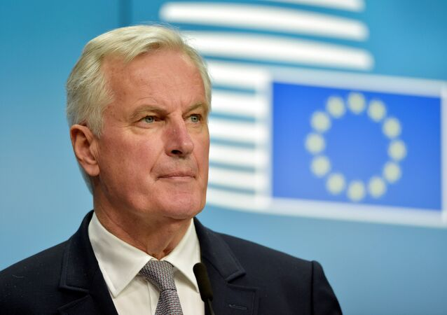 Michel Barnier lors d'une conférence de presse à Bruxelles