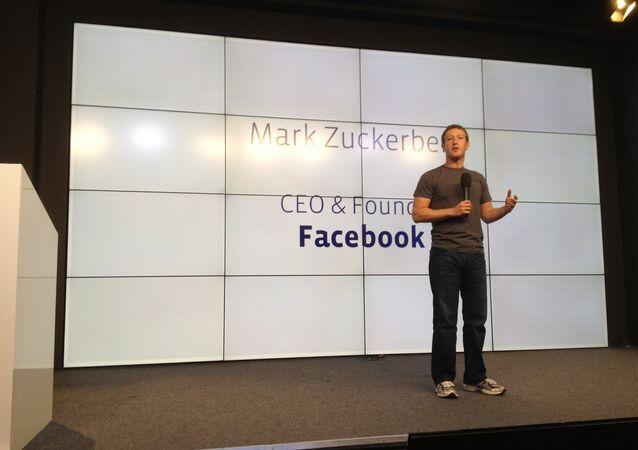 Le chef de Facebook Mark Zuckerberg lors d'une conférence à Moscou