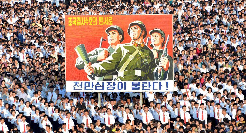 Des milliers de Nord-Coréens à Pyongyang contre le «feu et la colère» de Trump
