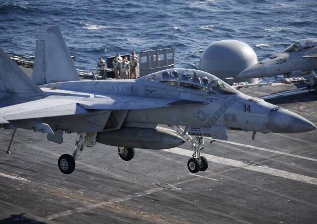 Un F/A-18 lors de son atterrissage (photo d'archives)