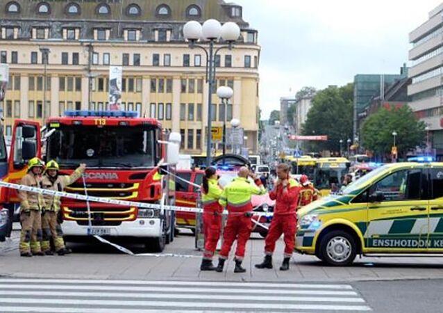 La police de Turku après l'attaque au couteau du 18 août 2017