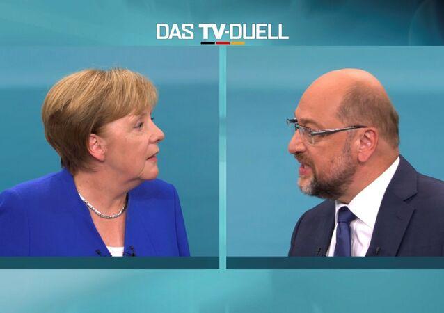 Allemagne: le débat Merkel-Schultz