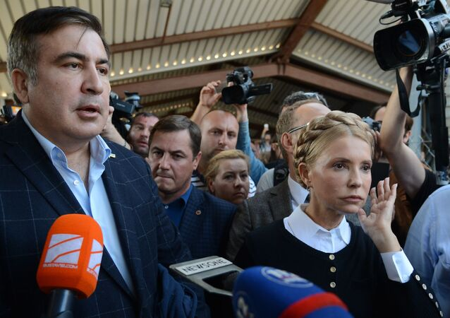 L'ex-président géorgien et ex-gouverneur de la région d'Odessa Mikhaïl Saakachvili et la chef du parti Patrie Ioulia Timochenko