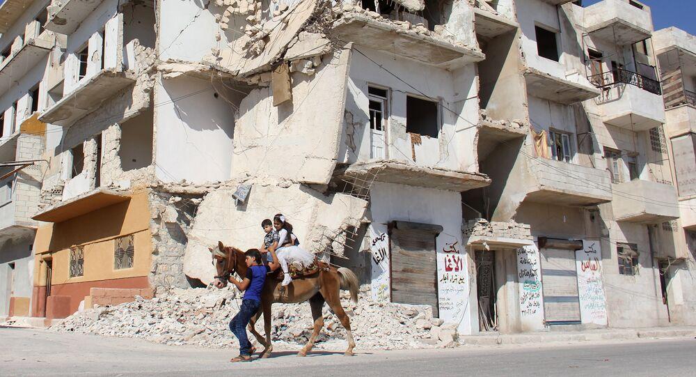 Niños en la ciudad siria de Idlib